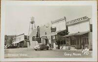 1930s Cody, Nebraska NE Realphoto Postcard: Street View, Coca-Cola, Drug Store