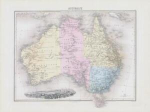 1892 Large Colour Map of AUSTRALIE Australia Vignette View of Sydney (NAI/64)