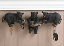 Rustic Black Bear Trio Cabin Style Wall Key Hook Wall Plaque Coat Hat Hanger