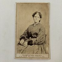 Antique CDV Photograph Beautiful Victorian Woman Plaid Dress CARROLLTON, OHIO