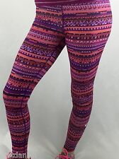 NIke Pro Women's Training Leggings Pants Purple Neon Print 683717 Size S