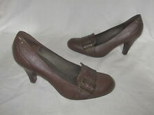 "Laura Ashley ~ Brown Leather Courts Shoes ~ 3.5 "" Heels ~ Size 6 39"