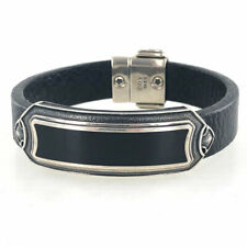 David Yurman Gents Special Edition Leather Black Chalcedony ID Bracelet
