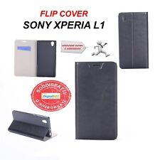 Custodia Cover Horizontal Flip Case Leather Eco Pelle Nero Per Sony Xperia L1