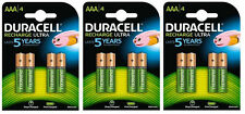 12 x Duracell AAA 850 mAh Stay Charged Pre Piles Rechargeables 5000394203822