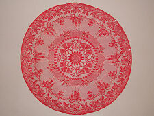 HERITAGE LACE CHRISTMAS RED PONSIETTA AND BELLS 45 INCH TABLE TOPPER ITEM 7071