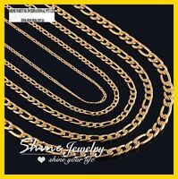 9K YELLOW GOLD GF FIGARO RING CURB CHAIN MENS SOLID 16-30 INCH ITALIAN NECKLACE