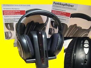 FUNK KOPFHÖRER /UKW/Wireless/Drahtlos/Li-Ion Akku/aufladbar Docking-Station 220V