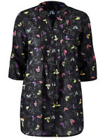 New Ladies Anthology Pleat Front Cotton Print Tunic Top Blouse Plus Size 12-32