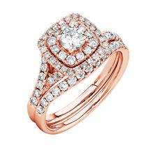 1.66ct Diamond Cushion Halo Engagement Wedding Ring Set Real 14k Rose Gold