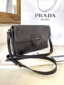 100% AUTHENTIC Prada Logo Black Leather Messenger Crossbody Bag RRP £1,790
