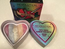 Makeup Revolution UNICORN HEART Triple Baked Rainbow Highlighter Brand NEW!