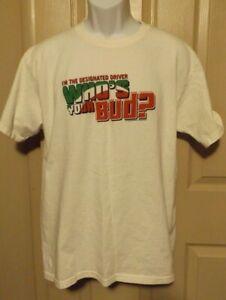 Sz L Vintage Budweiser Mens T Shirt Who's Your Bud - Designated Driver 2007