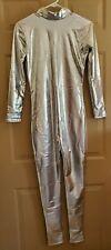 Unisex Silver Metallic Lycra Bodysuit Without Hood Size Adult Medium