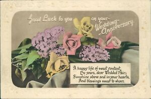 wedding anniversary message hand coloured flowers