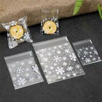 100x Clear Cello Snowflake Cellophane Sweet Biscuit Party Favour Bags Gift U9C8