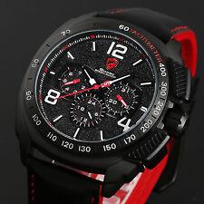 Shark Men's Luxury Quartz Analog Wrist Watch Black Leather Date Day Sport Army