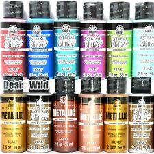 1 Metallic or Extreme Glitter Acrylic Paint FolkArt 2oz Folk Art Shiny Paints