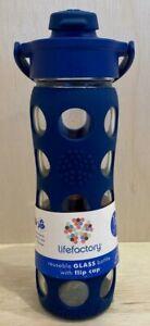 Lifefactory BPA Free 16 oz Glass Water Bottle Silicone Grip Flip Cap Sports Yoga