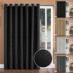 Ring Top Thermal Blackout Ready Made Door Curtain Set With Tie Back 66 x 84 Inch