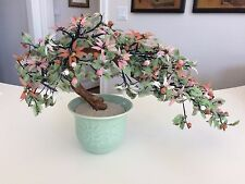 "Large Vintage Asian Glass Jade Bonsai Flower Tree Celadon Pot Feng Shui 21"" Wide"