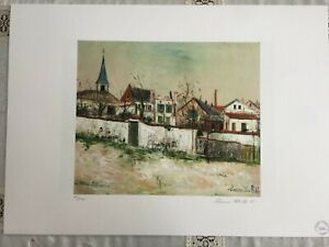 Utrillo Maurice Lithograph cm 50x70 with authentic certificate edition 1995