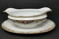 VTG Noritake M Japan Oxford Bone China Gravy Boat with Attached Plate Gilt Trim