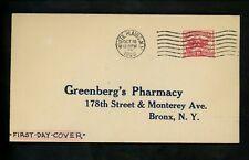 US FDC #629 Unknown NIM 1926 NY White Plains Greenberg's Pharmacy Bronx