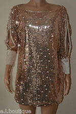 VICKY MARTIN copper gold sequin split sleeve slouch mini dress BNWT 8 10 12