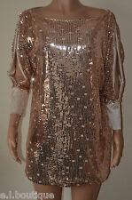 VICKY MARTIN copper gold sequin split sleeve slouch mini dress BNWT 8 10 12
