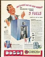 1948 Kalamazoo Furnaces Print Ad Mr. B Wise Has No Heat Worries Coal Oil Gas