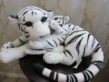 "Adorable WHITE TIGER MOM & BABY 16"" Long Plush Stuffed Animal Toy"