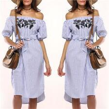 Women Lady Off Shoulder Stripe Midi Dress Summer Ruffle Beach Party Sundress NB