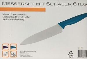 Messerset mit Schäler 6 tlg Edelstahl rostfrei mit weißer Antihaftbeschichtung