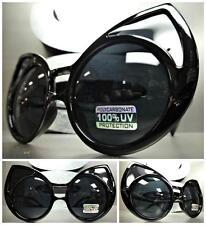 UNIQUE VINTAGE EXAGGERATED CAT EYE Style SUN GLASSES Huge Black Frame Dark Lens