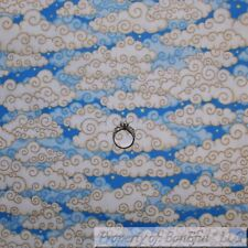 BonEful FABRIC Cotton Quilt Blue White Cloud Sky Yellow Moon Star Baby Boy SCRAP