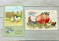 Lot Of 2 German Vintage Easter Rooster Holiday Greeting Postcards Post Cards