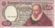 PORTUGAL BANKNOTE P177 CH11-7940 500 ESCUDOS 1979 , PREFIX EH, VF+
