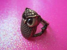 Antique Gold Owl Locket Ring Size 7