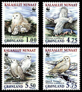 Greenland 1999 Birds, Endangered Species, The Snowy Owl, set of 4, UNM / MNH