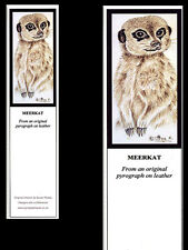 Meerkat Laminated Bookmark - Print from Original Pyrography Animal Art