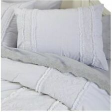 Simply Shabby Chic White Pieced Lace Mesh Duvet Cover Set Twin 2 pc.