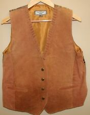 Women's Suede Leather Vest Sz M Camel Color Snap Front Bicker Cowgirl