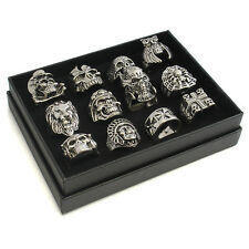 All' ingrosso Da Uomo Gotico Biker Punk Teschio anelli in metallo e display - 12 Stili - 33-71