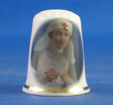 Birchcroft China Thimble -- Red Cross Nurse Knitting -- Free Dome Box