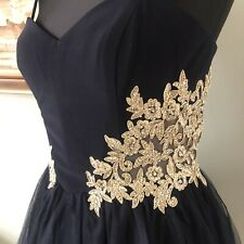 RRP£180 new Blondie Nites Navy/Gold Mini Prom Dress A-Line Embroidered