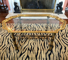 BAKER Faux Bamboo Tortoise Shell Brass Glass Coffee Table Scalloped Edge Regency