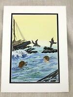Originale Acquerello Pittura Oceano Nuoto Cane per Bambini Libro Illustrazione