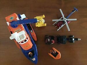 90's Mattel - Matchbox Mega-Rig Rescue Squad Speedboat & Military Helicopter Set