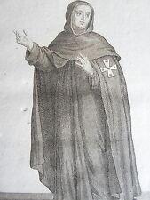 Religieux CONVERS Ordre Ste.BIRGITTE habit GRAVURE originale POILLY JUN XVIIIéme
